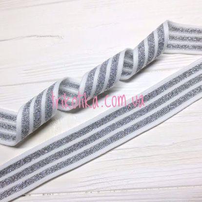 Изображение Лампас трикотажный, Белый/люрекс Серебро 30мм