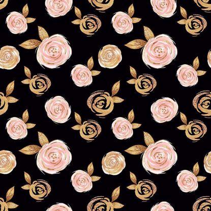 Изображение Футер 2х нитка,петля, Цветы на черном