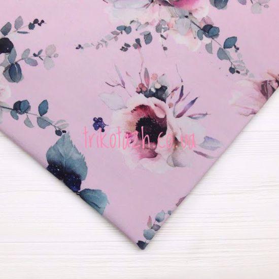 Изображение Футер 2х нитка,петля, Цветы на розовом