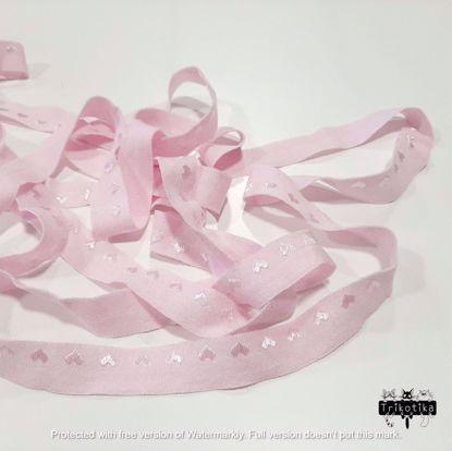 Изображение Резинка пополамка матовая 15мм, Розовая с сердечками